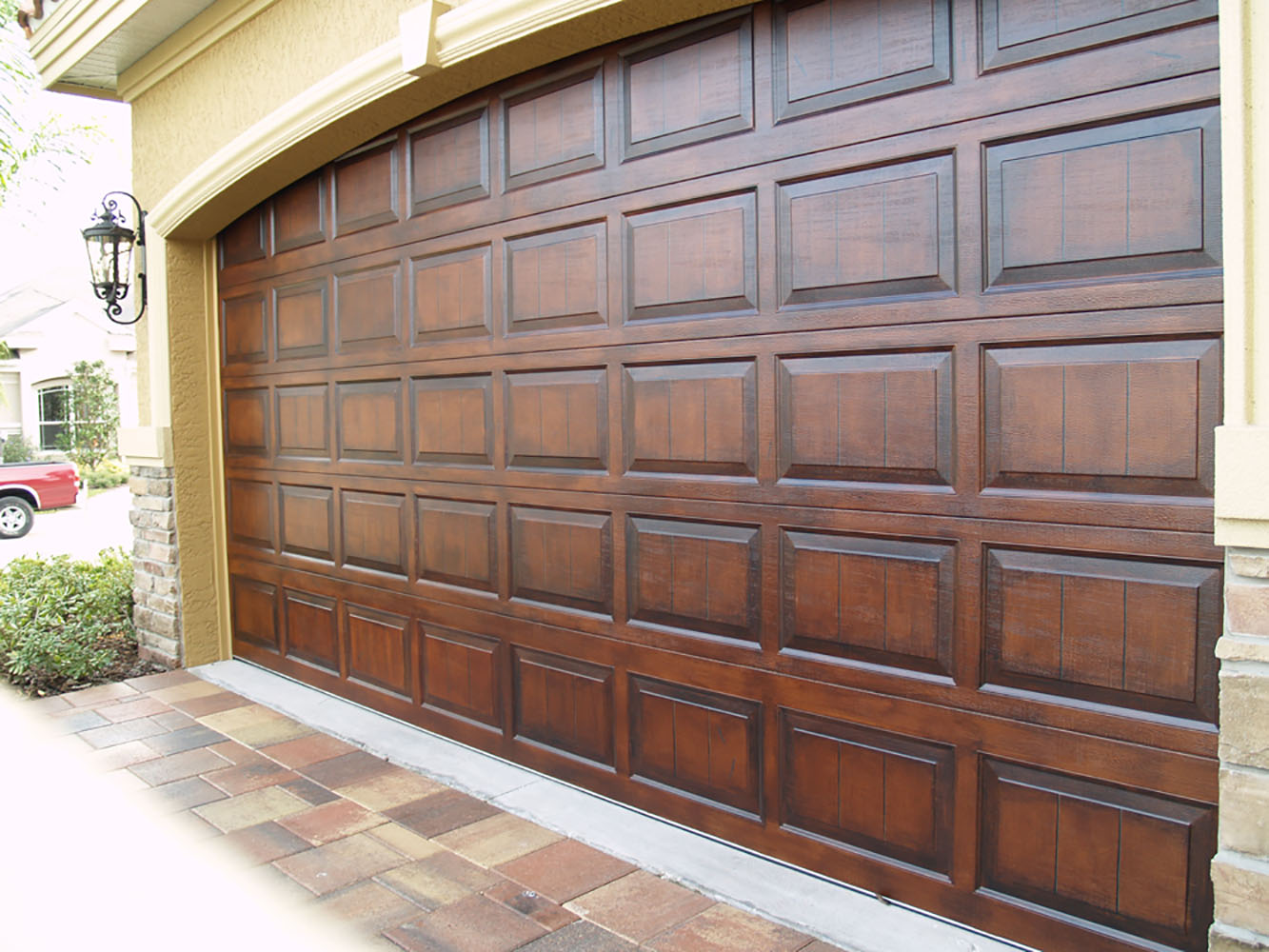 Faux wood stone marble and more splatpaint tampa Garage door faux wood